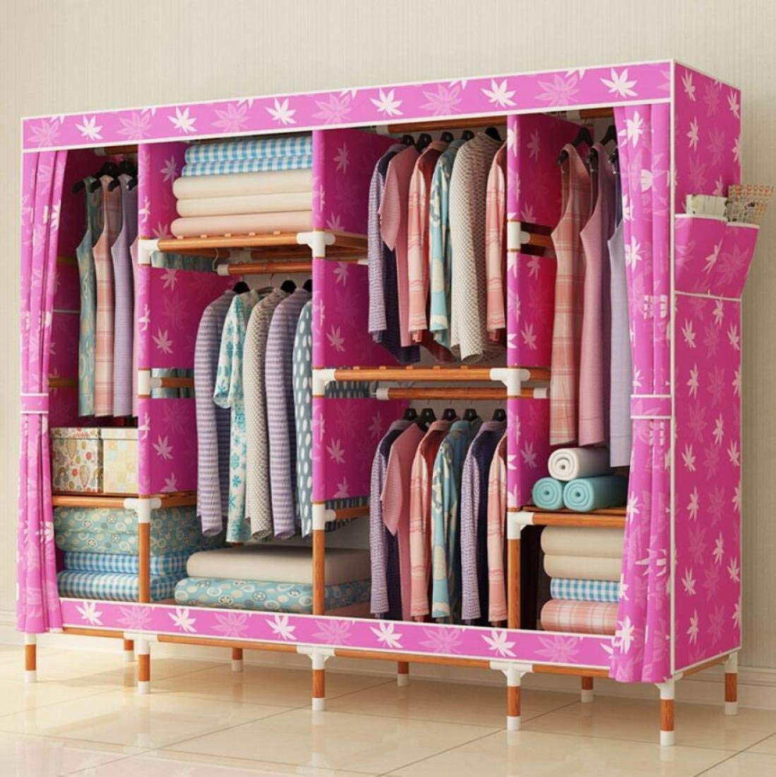 Get Quotations · GLu0026G Wardrobe Closet Oxford Cloth Fabric Free Standing  Storage Organizer U2013 Home Finishing Decoration Portable,