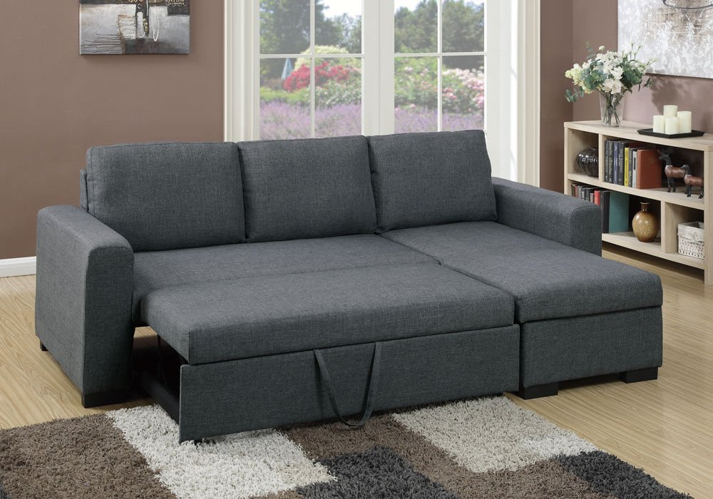 Get Quotations · 1PerfectChoice Modern 2 Pcs Sectional Sofa Pull Out Bed  Under Seat Storage Blue Grey