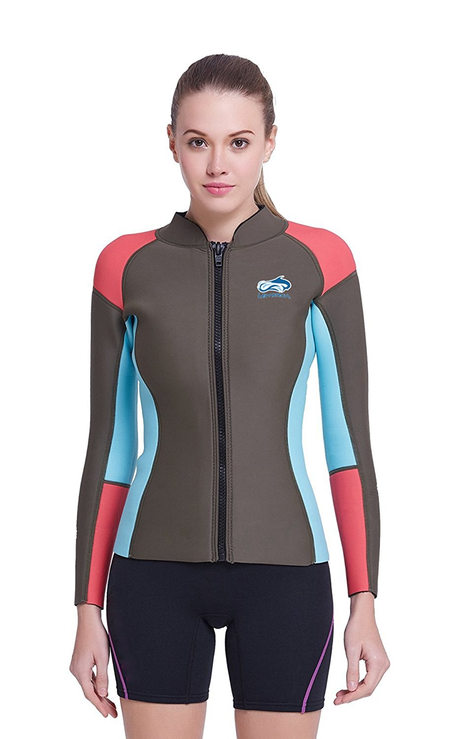 a19baeb779 Get Quotations · Lemorecn Women s 1.5mm Wetsuits Jacket Long Sleeve  Neoprene Wetsuits Top
