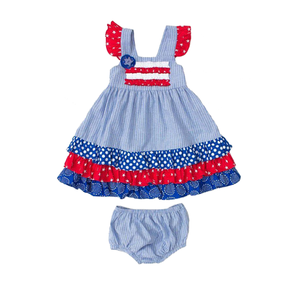 Latest Frock Designs Wholesale Girls American Sleeveless Dress Independence Day Baby Girls Dresses