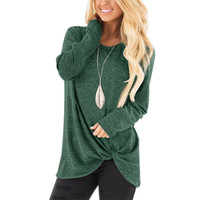 Women's Casual Long Sleeve T-Shirt Tops Twist Knot Front Tunics
