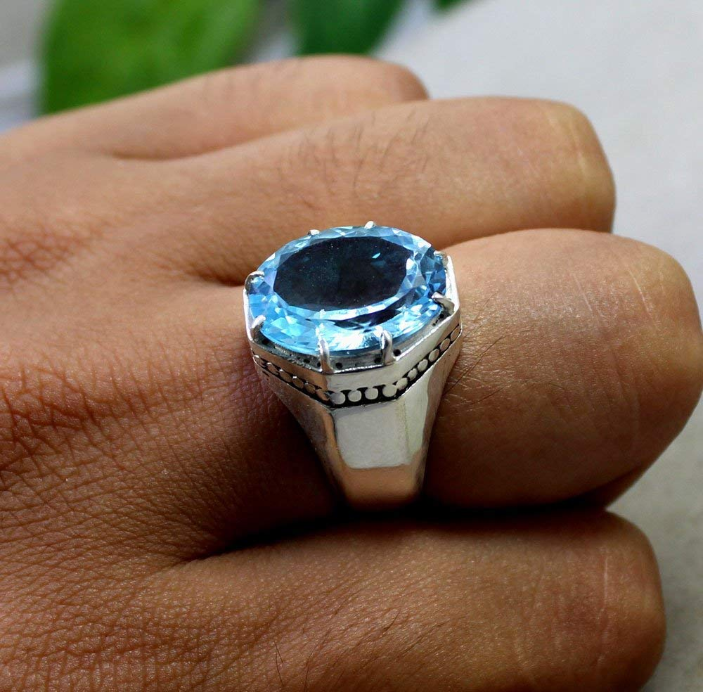 Natural AAA Quality Blue Topaz Gemstone Mens Ring Jewelry Handmade Designer Oval Shape Ring For Him Wedding Engagement Mens Ring Jewelry