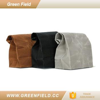 Eco Friendly Kraft Paper Bag Picnic Basket Washable Handbags Food