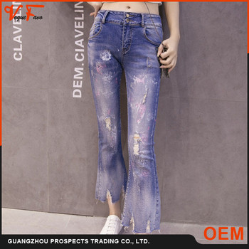 China manufacturer latest fashion women ripped flared new fashion jeans pants