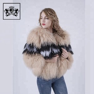High quality clothing custom natural lamb fur coat for women
