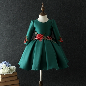 d8af430d660 2018 New Style Embroidery Design Red Color Green Color Kid Dress ...