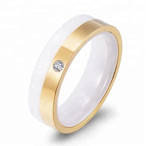 Fashion jewelry gold diamond ceramic rings