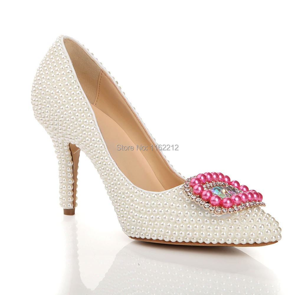 LS05 Pink White Pearl Chaussure Femme Women Shoes Bridal Prom Ladies High Heels Shoes Party Pumps Pointed Toe Wedding Shoes 2015