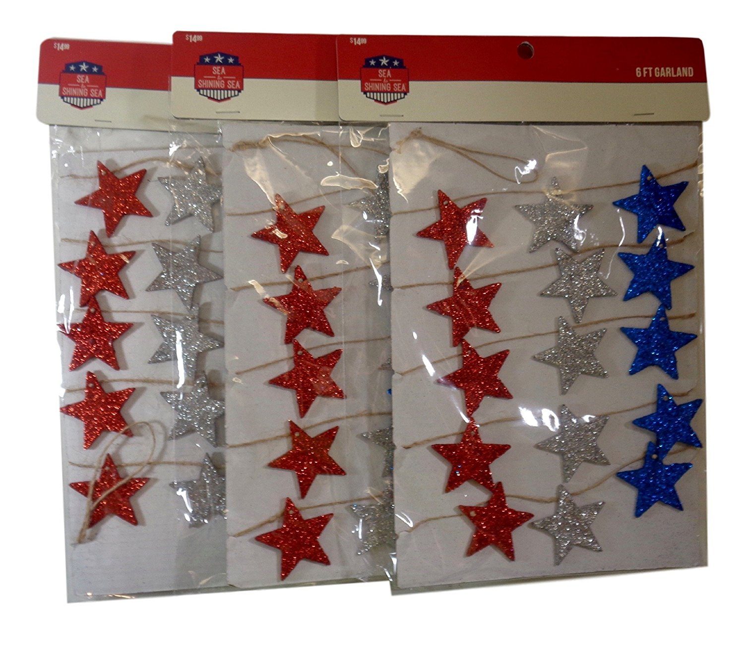 Bulk Buy: Patriotic Red, Silver & Blue Glitter Star Rustic Party 6 Ft. Garland, Pack of (3)