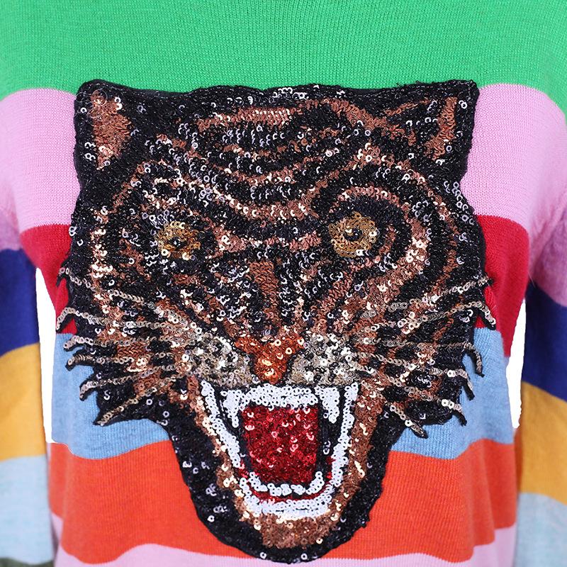 Hot Sale Rainbow Sweater Striped With Panther Appliques Sweater Knitting Women