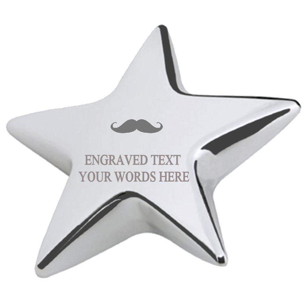 Moustache Office Desk Paperweight Engraved