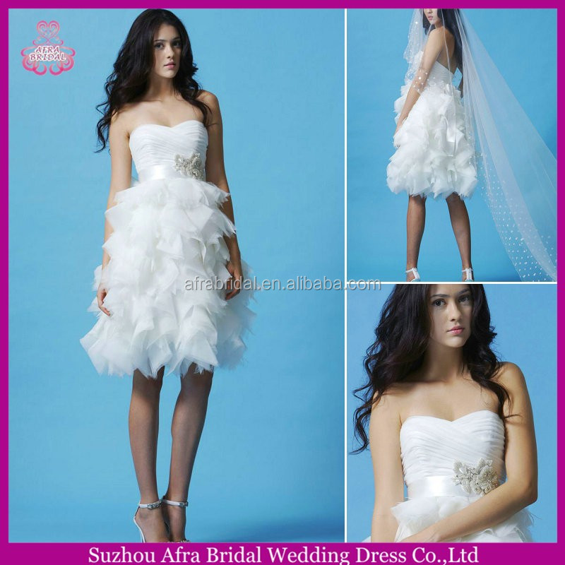 SD1677 layered knee length wedding dresses short wedding dress patterns
