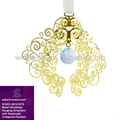 Hot Sale Metal Christmas Hanging Ornament Stand with Crystals from SWAROVSKI Octagonal Pendant WS331-SS10107S
