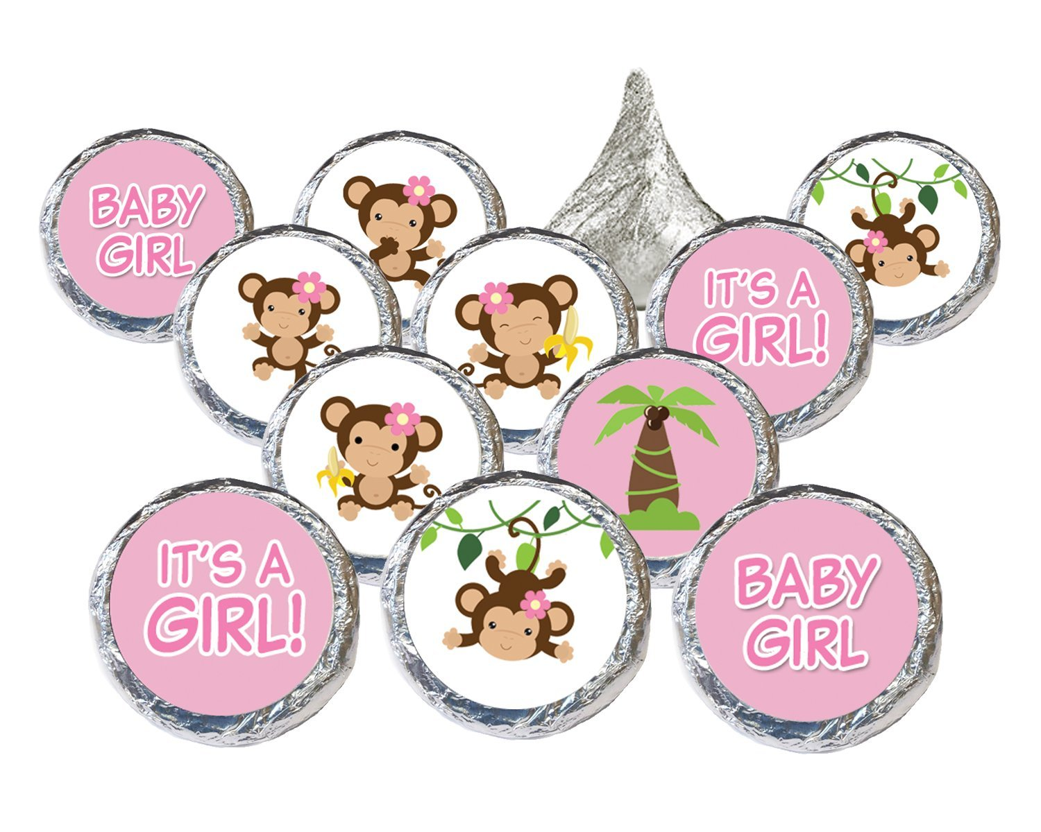 Buy Girl Monkey Baby Shower Party Decoration Stickers For Hershey