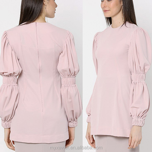 Exaggerated blown-out sleeves salmon pink women abaya blouse