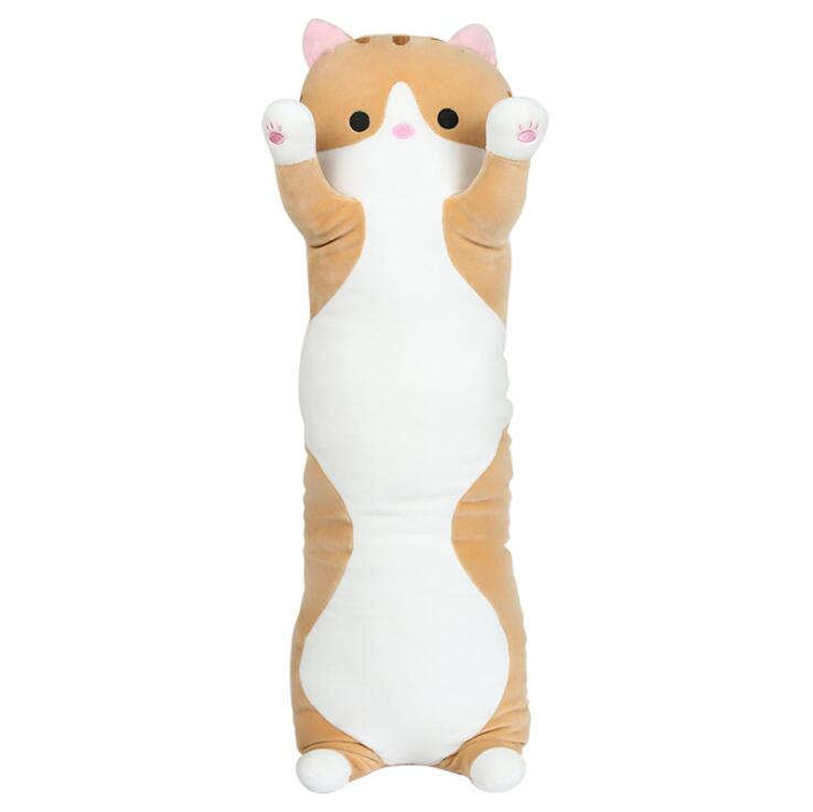 Customized Size White Yellow Elastic Fabric <strong>Plush</strong> Stuffed Sleeping Cute Long Cat Shaped Body Pillow