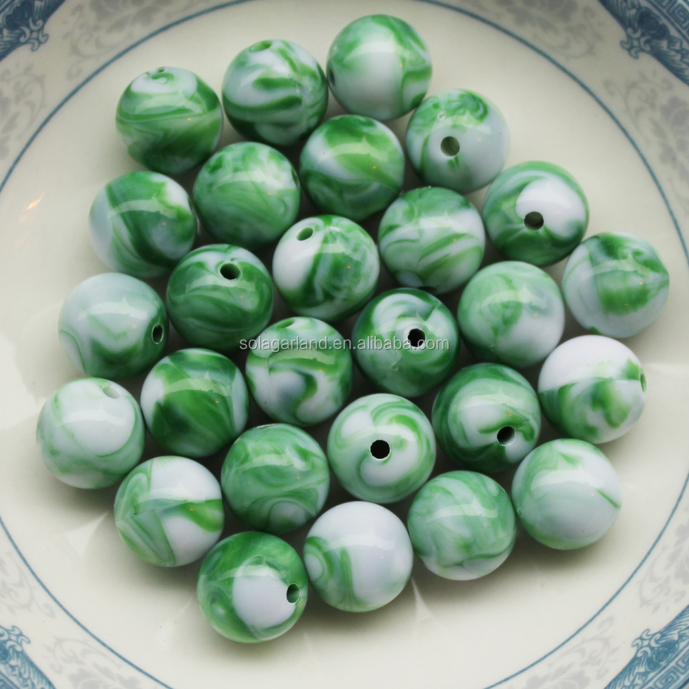 Illusion Jet Marble Smooth Round 10mm 12mm 14mm Acrylic Beads