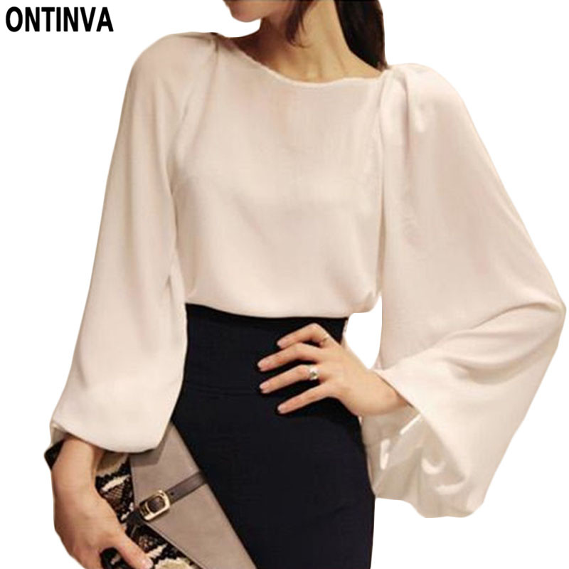 Aliexpress.com : Buy 2016 Pure White Blouse Blusa Chiffon ...