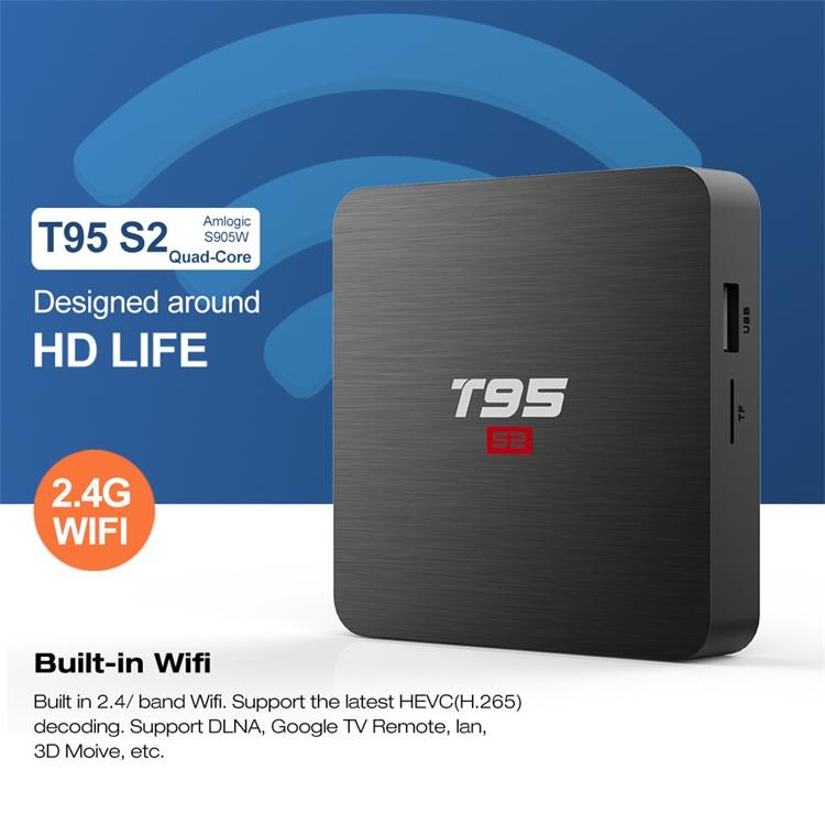 Harga Pabrik Komersial Biaya Rendah T95 S2 Smart TV Box Android 7.1 Kabel Digital TV Set Top Box 4 K HDR
