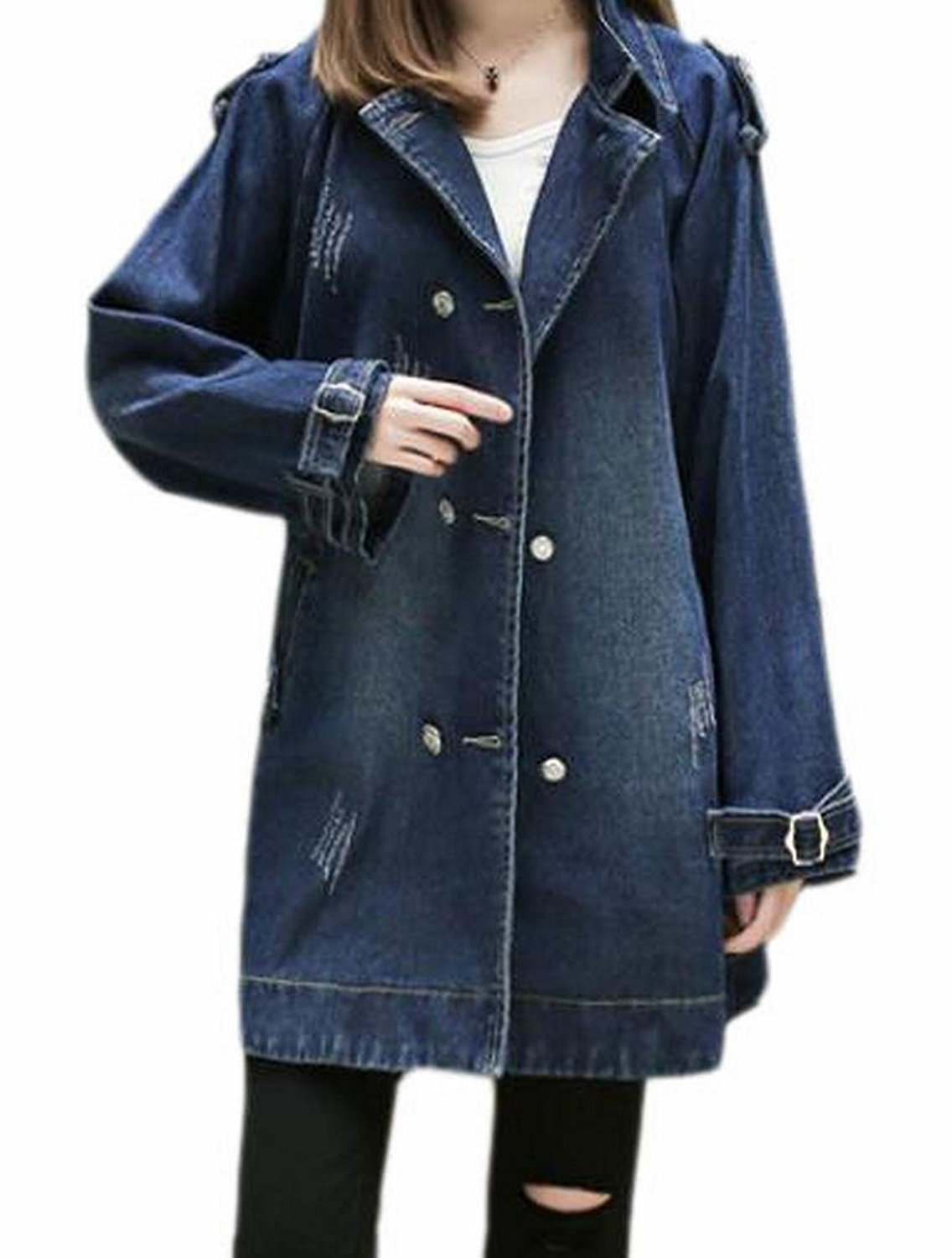 ONTBYB Womens Lapel Long Sleeve Double-Breasted Denim Jacket Trench Coat