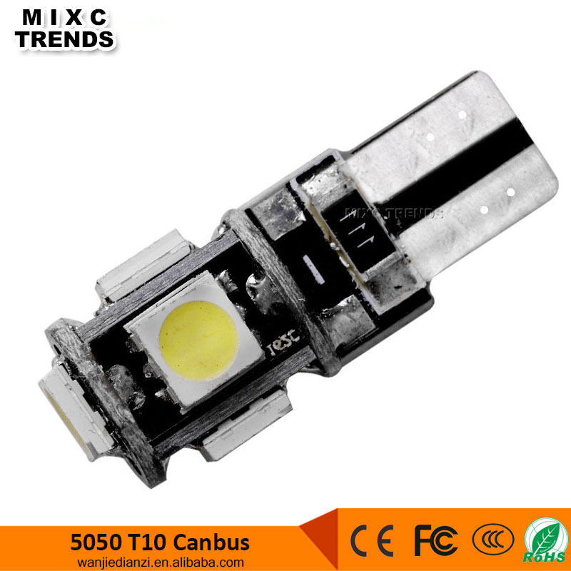 High Quality Canbus T10 5smd 5050 Led W5w 194 Error Free DC 12V Car Light bulb for Wedge Clearance Light