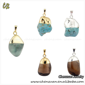 High quality fancy raw precious stones jewlery turquoise druzy stone pendant