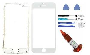 """(md0410) iphone 6 Plus 5.5"""" White front outer glass lens screen replacement + Mid Bezel Frame + Tools + 5ml UV LOCA Liquid Adhesive Glue (LCD & Digitizer not included)"""