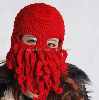 2016 Hot selling Plush Hand-woven Wool octopus beard hat   knit Octopus Cap    5e4a39773b7