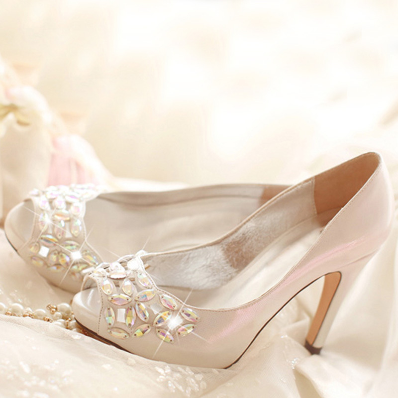 2015 Crystal Peep Toe High Heels Rhinestone Bridal Shoes Luxurious Silver 4 Inches Wedding Ceremony Prom Shoes Birthday Gift