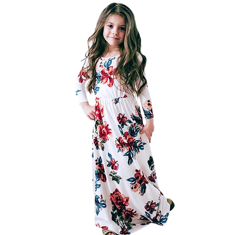 a2df2edbaa3f Get Quotations · Scaling ❤ Girls Dress,Baby Girl Summer Floral Print Maxi  Dress Short Sleeve Party Long