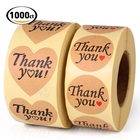 Custom Love Heart Shape Thank You Sticker Seal, Kraft Paper Roll Label Thank You Sticker for Envelope