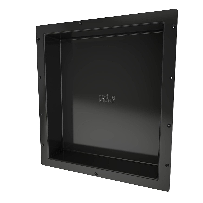 Redi Niche single Recessed Shower Shelf – Black, One Inner Shelf, 16-Inch Width x 20-Inch Height x 4-Inch Depth