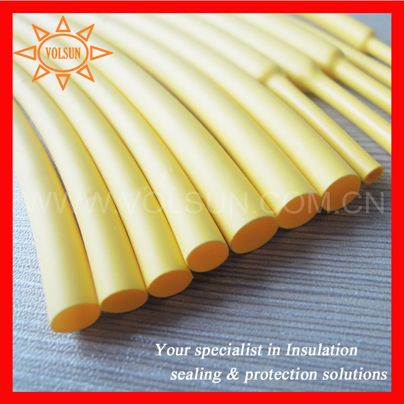 Yellow Pe Plastic Heat Shrink Tubing Fire Retardant