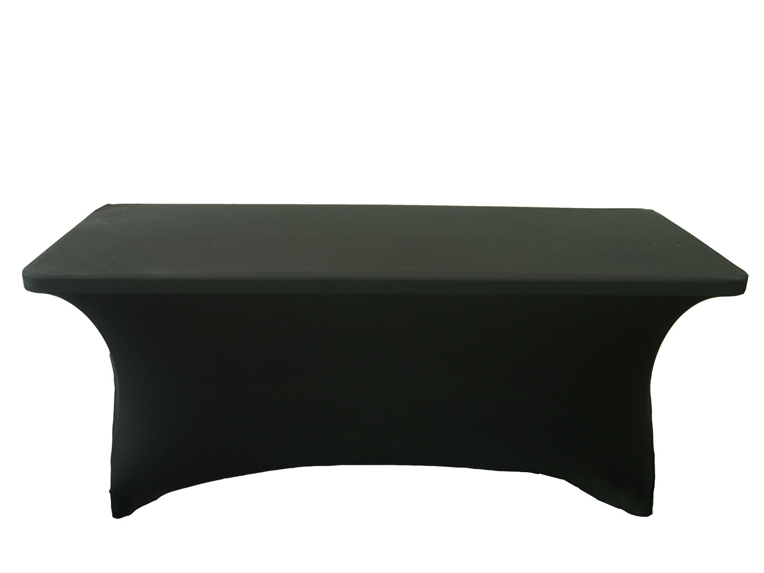 LA Linen Spandex Table Cloth for a 6-Feet Rectangular Table, 72 by 30 by 30-Inch, Black