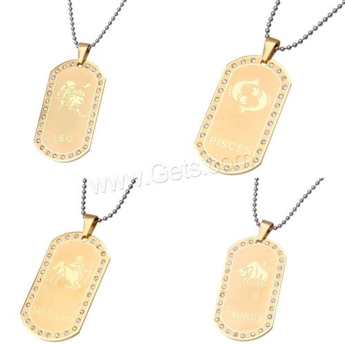wholesale zodiac charms 316L Stainless Steel Zodiac Pendant Rectangle gold color plated zodiac jewelry with rhinestone
