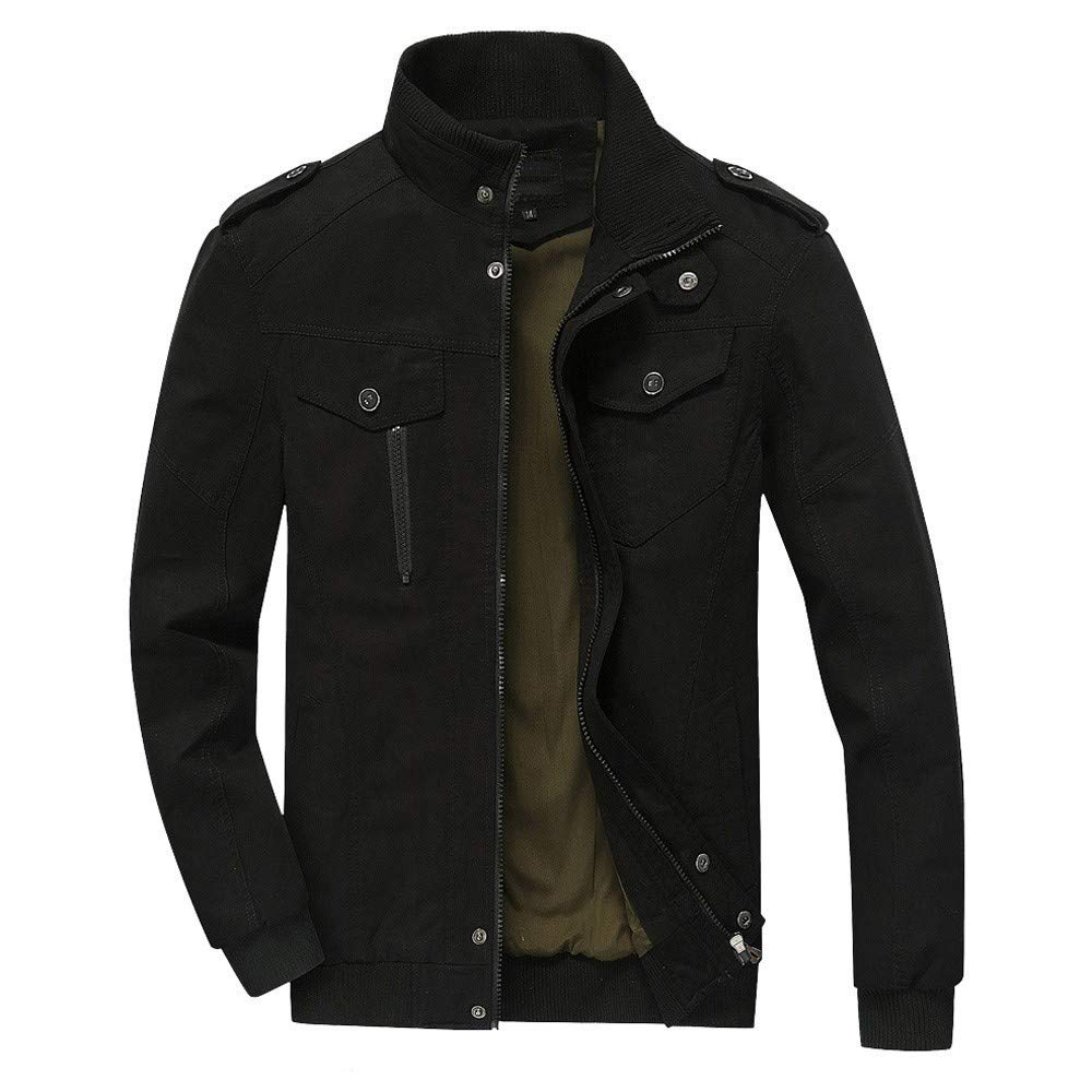Mens Jacket,Casual Militray Sweater Full Zip Stand Neck Jacket Coat Overcoat with Shoulder Straps Zulmaliu