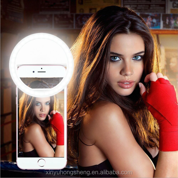 Instagram selfie portable beauty flash LED selfie ring light with 3 level rechargeable for iphone selfie light up ring