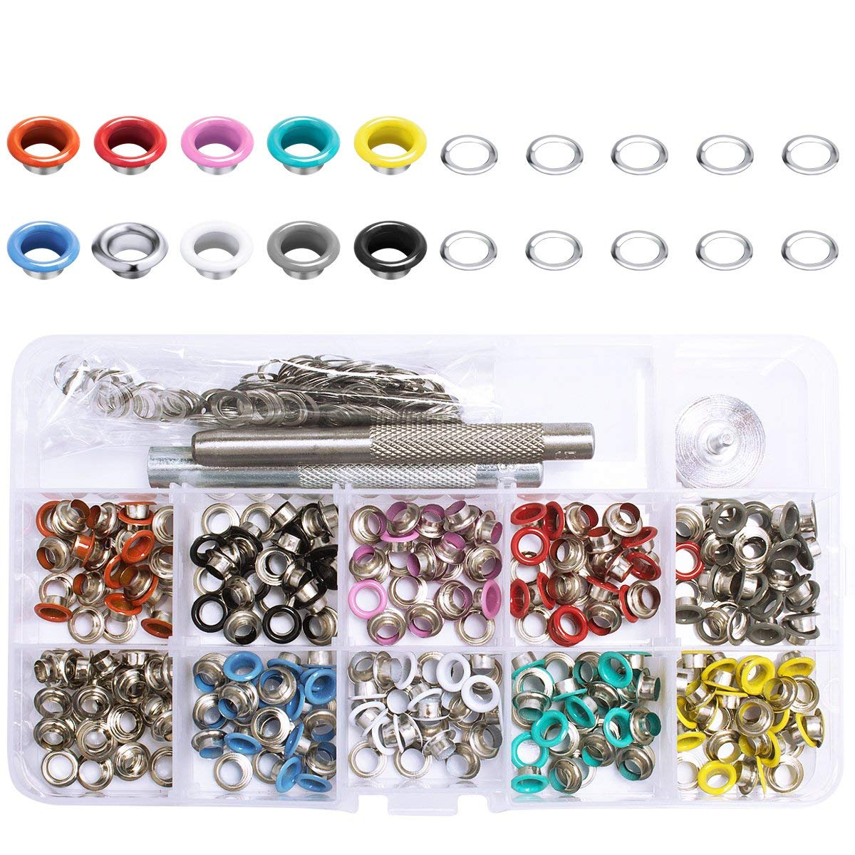 Amariver 300 Pieces Grommets Kit 5mm Metal Eyelets Shoes Clothes Crafts, 10 Colors with Punch Tool and A Clear Storage Box