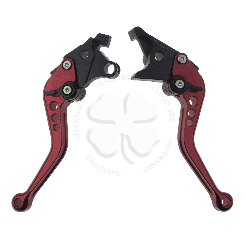 Shorty Hand Levers- Shorty Levers- - CNC - Suzuki - Brake & Clutch Set - 99-11 GSXR 1300, 01-06 Bandit 1200, 07-11 Bandit 1250, 03-07 SV1000, 08-11 GSX650F, 98-03 TL1000R, GSX 1400 - Red