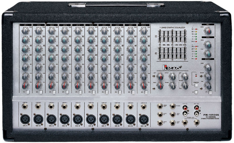 wooden case powered mixers with 10 channel, 200W output