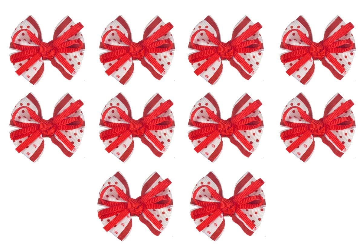 Red and White Pre-tied Satin With Red Ribbons Quadra Bow (10 Pack ) For Crafts, Clothing, Packaging and Gifts. Size 2 X 1-1/2