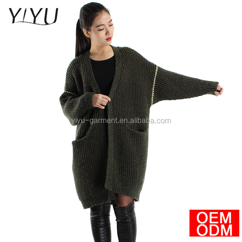 Women's Clothing Soft Coat Women Spring Autumn Knitted green color V-Neck Long Cardigan Female Sweater Jacket