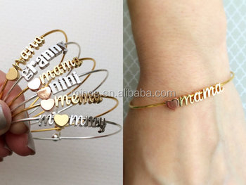 Build Your Own Bangle Bracelet Mama Mother Mommy Mothers Day Gift Personalized Initial