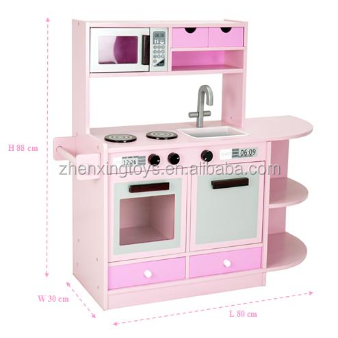 Pink Color Mdf Material Kids Kitchen Toy Set For Girls
