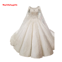 2018 Fashion Shoulder Veil Fluffy Really Wedding Dress White Appliqued Fish Dress