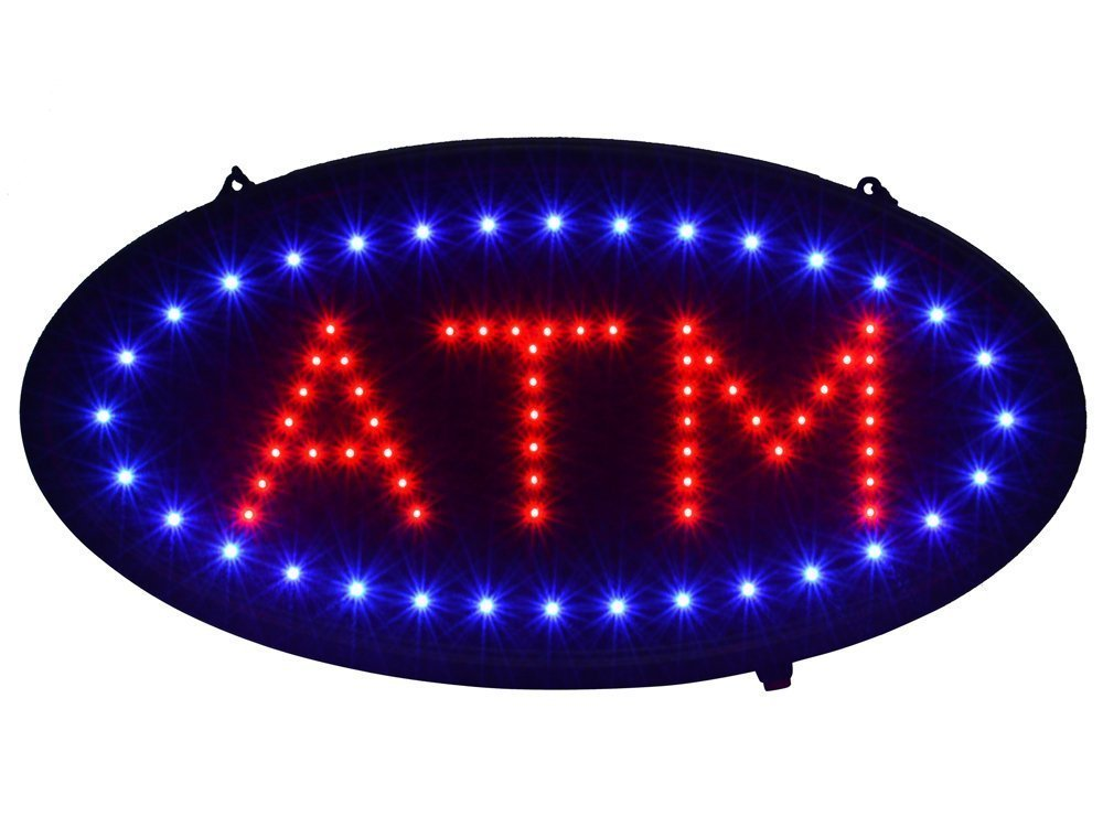 """TMS 19""""x10"""" Ultra Bright LED Neon Light Animated Motion ON/OFF ATM Machine Open Sign"""
