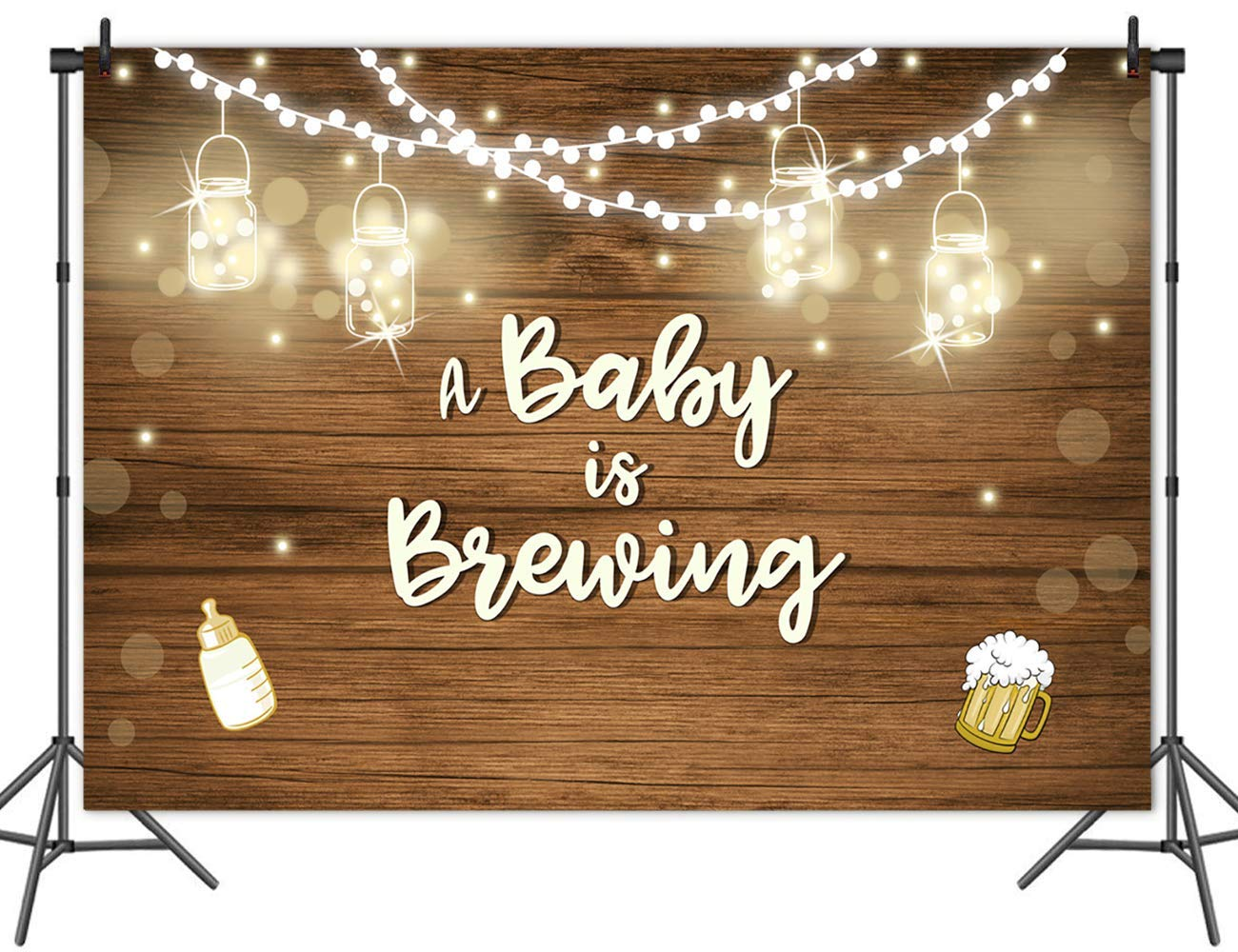 Mehofoto Baby Q BBQ Mason Jars Baby Shower Backdrop 8x6ft Vinyl Baby is Brewing Photography Background Rustic Wood Baby Shower Party Banner
