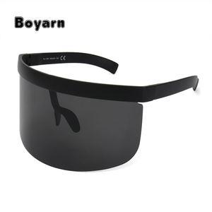 BOYARN Vintage Extra Oversize Shield Visor Sunglasses Women Flat Top Mask Mirrored Shades Men Flat Windproof Eyewear UV400 SS529