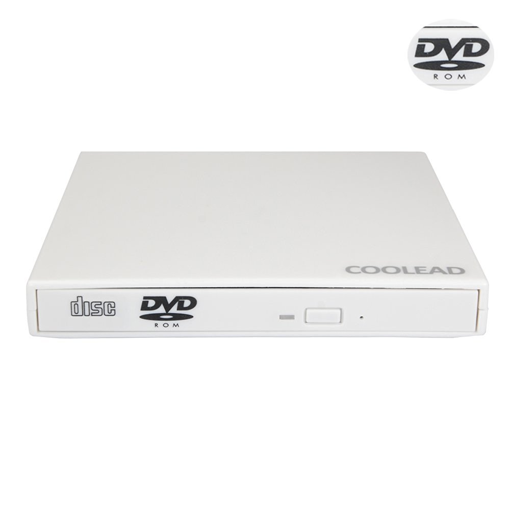 COOLEAD- White Portable Slim USB 2.0 External Optical CD-ROM x24 Drive and DVD ROM x8 Drive with Microfiber Cloth