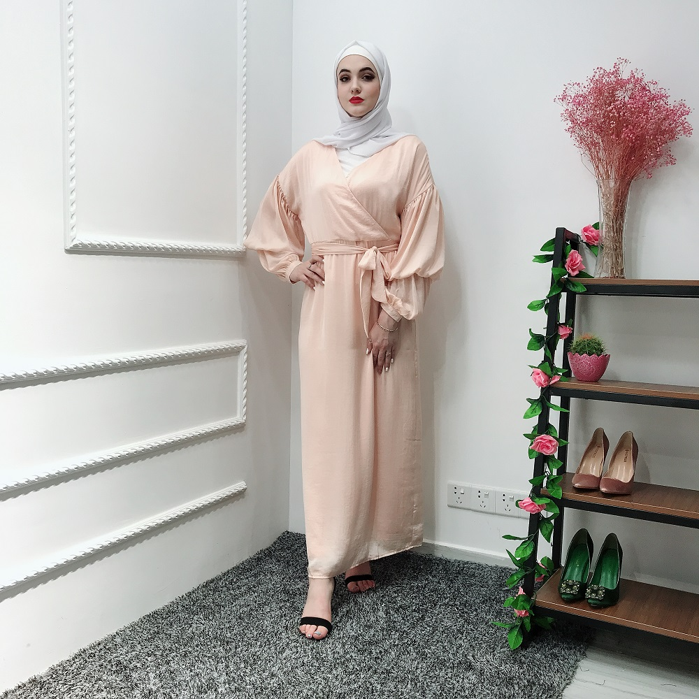 2019 hot selling moroccan maxi puff sleeve evening party dress turkish abaya muslim dress